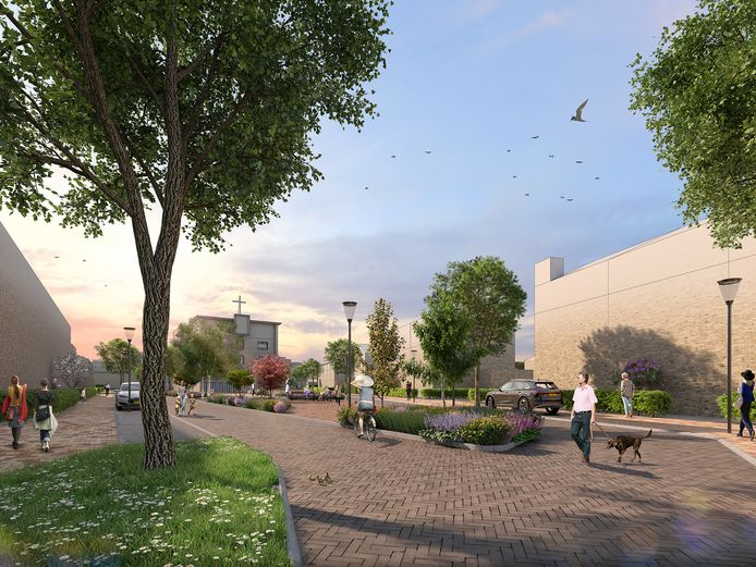 Artist Impression van De Brink in de nieuwe woonwijk Park Langendijk. Met achteraan het voormalige diaconessengebouw