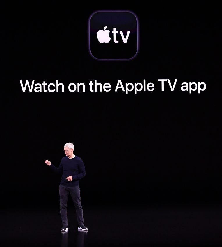 Apple CEO Tim Cook kondigt de lancering van Apple TV+ aan tijdens een event in Cupertino, Californië. Beeld AFP