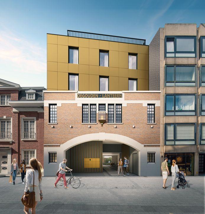 Een blik op het nieuwe woonproject. Merk hoe de iconische gevel in de Jan Persijnstraat 6 in ere wordt hersteld. Merk ook de 'gouden kroon' op.
