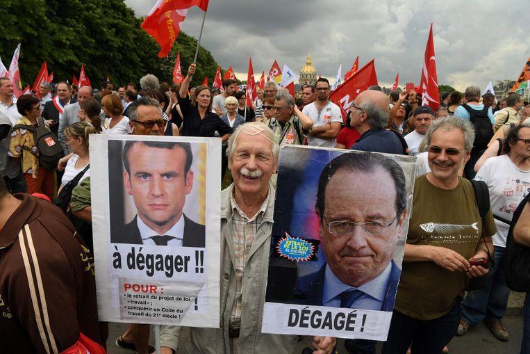 Protest tegen de nieuwe arbeidswet Beeld afp