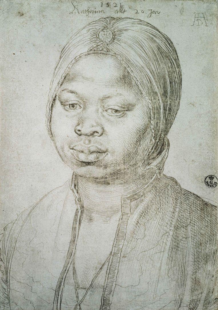 Albrecht Dürer, Portret van Katharina, 1521.  Beeld Uffizi Florence
