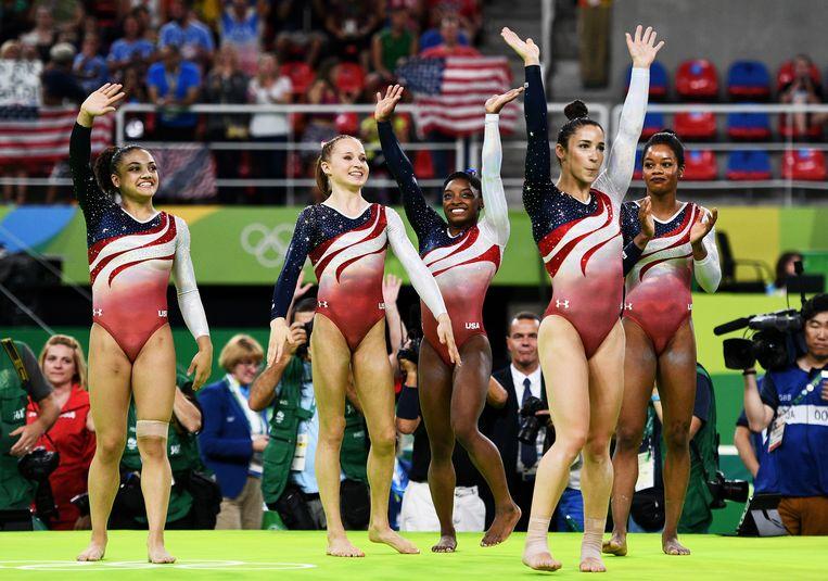 De Amerikaanse gymnasten hadden met in totaal 12 medailles een stevige bijdrage aan het Amerikaanse totaal van 121. Beeld