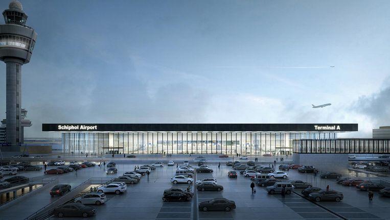 De nieuwe terminal die in 2023 af moet zijn. Beeld Kaan Architecten