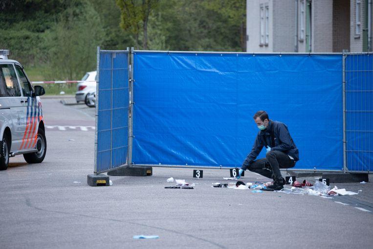 Sporenonderzoek na de steekpartij. Beeld Hollandse Hoogte /  ANP