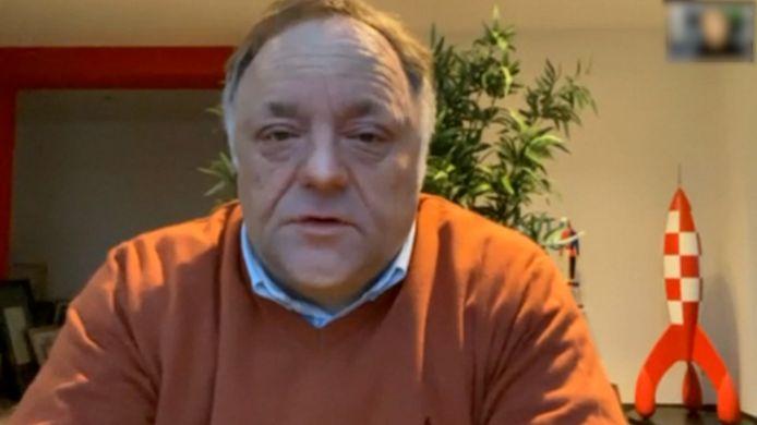 Le virologue Marc Van Ranst, interrogé en vidéoconférence par nos collègues du HLN Live.