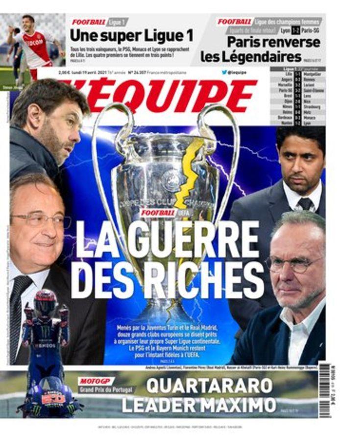 De frontpagina van L'Equipe.