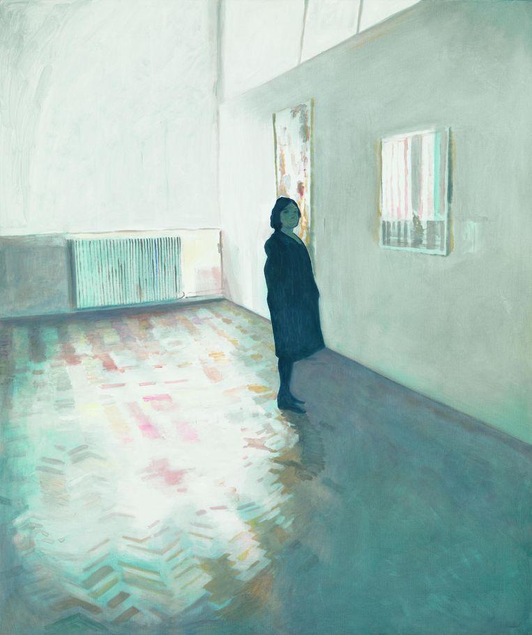 The Visitor, MuZee (2013). Jan Vanriet schilderde zijn vrouw terwijl ze op bezoek waren in verschillende musea. Ook te zien in de expo Vanity bij de Brusselse Roberto Polo Gallery. Beeld RV