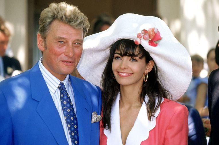 Johnny Hallyday en Adeline in 1990. Beeld Photonews