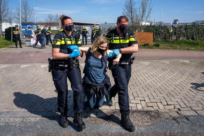 Een groep van zeven demonstranten blokkeerde dinsdag een aantal uren de aanvoer van varkens bij slachterij Vion in Boxtel.  Vier demonstranten werden aangehouden.