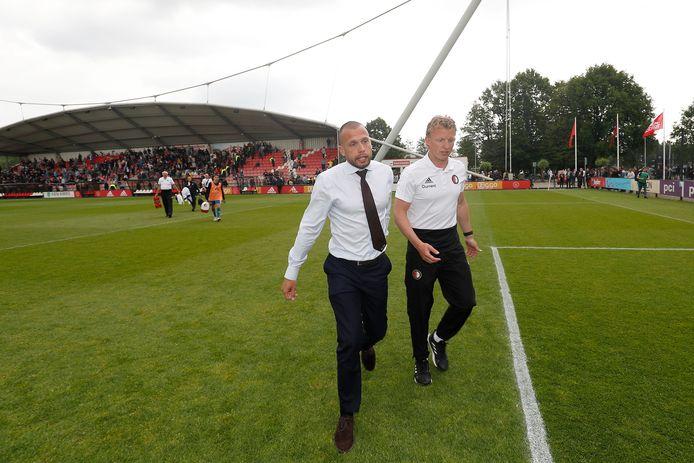 John Heitinga en Dirk Kuyt na Ajax O19 - Feyenoord O19 op 25 mei 2019 op Sportpark de Toekomst.