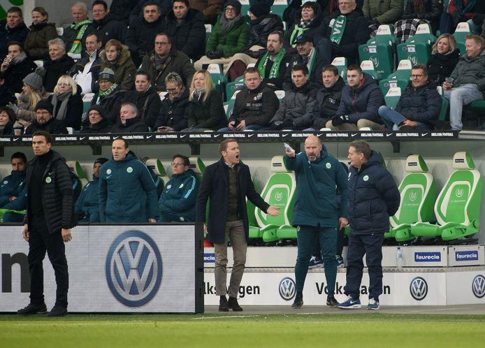 Lokhoff (r) tijdens het duel met Hoffenheim op 12 februari van dit jaar. Uiterst links de ontslagen Ismael.