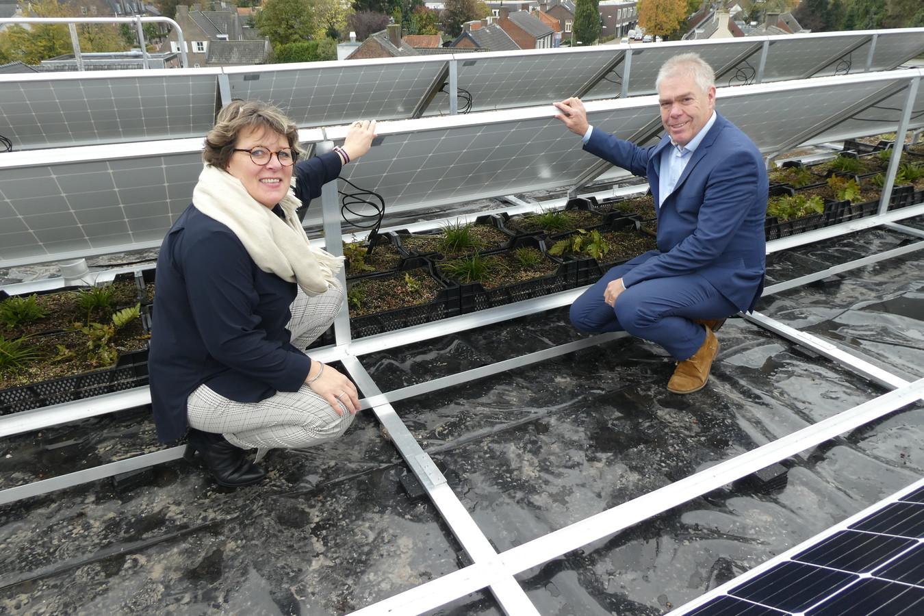 Wethouders Carine Blom en Martien Vromans bij de nieuwe varens en zonnepanelen op het dak van het Haarense gemeentehuis.