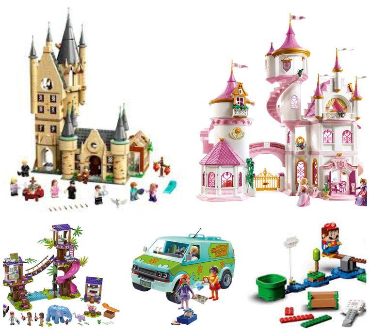 Boven: Lego Harry Potter Hogwarts De Astronomietoren en Playmobil Groot Prinsessenkasteel  Onder: Lego Friends Jungle Reddingsbasis, Playmobil Scooby-Doo! Mystery Machine en Lego Super Mario 'Avonturen met Mario'-startset Beeld rv