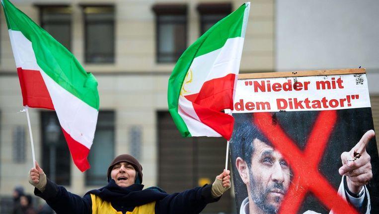 Portest tegen Ahmadinejad in berlijn. Beeld afp