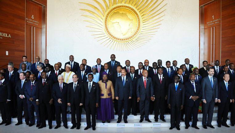 De Afrikaanse leiders die bij de Afrika Unie aanwezig zijn. Beeld epa