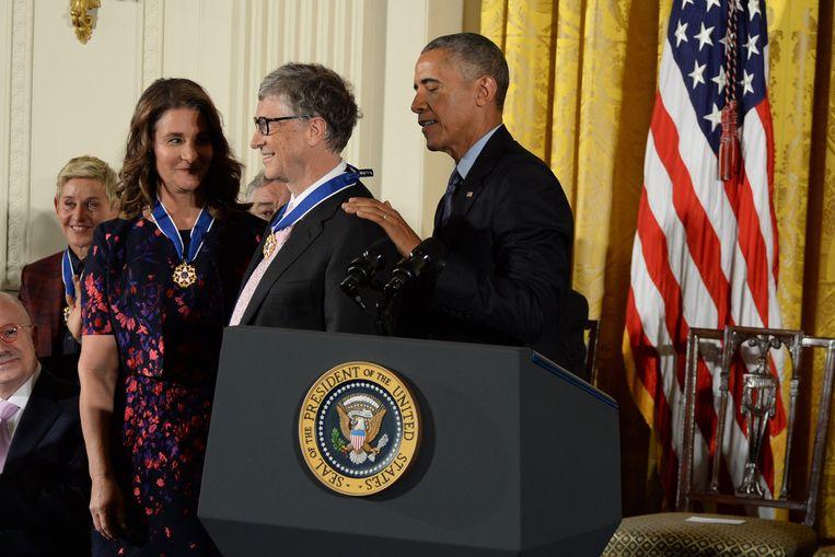 Microsoftoprichter en filantroop Bill gates kreeg in november een onderscheiding van president Obama.  Beeld Photo News
