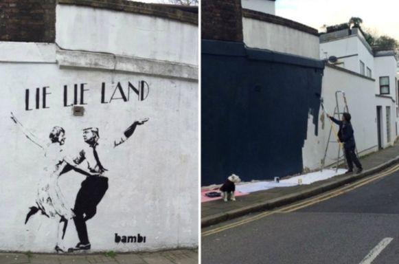 Dit bekende kunstwerk van straatartiest 'Bambi' werd overschilderd.