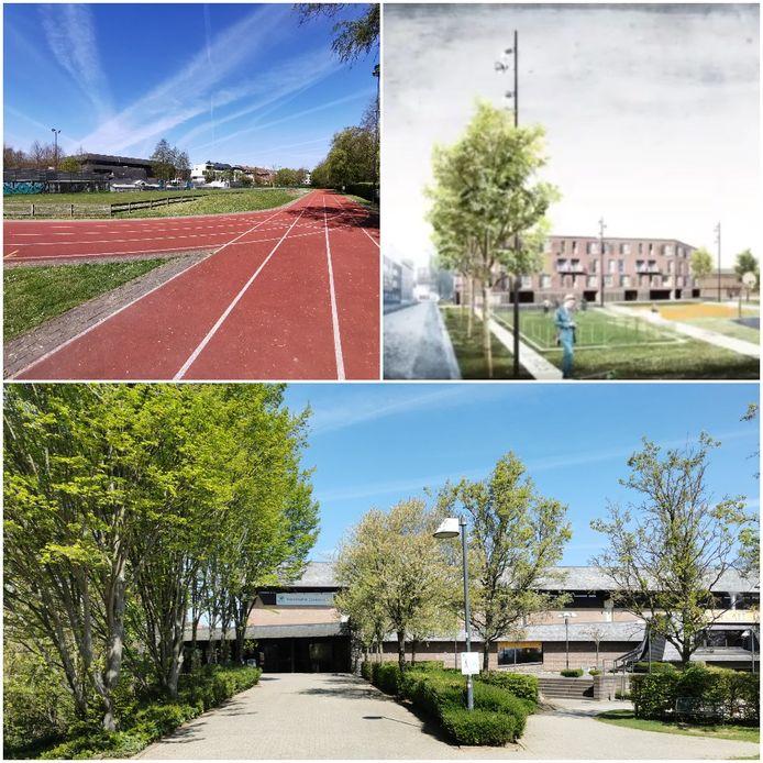 Links boven de atletiekpiste aan De Bres. Rechtsboven hoe alles er uit kan zien en onderaan het huidige sportcomplex De Bres.