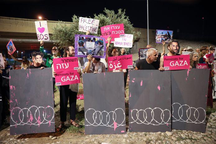 BDS-demonstranten riepen in mei in Tel Aviv op tot een boycot van het Eurovisie Songfestival.