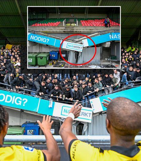 Bizarre beelden: container voorkomt 'erger' als tribune bezwijkt onder feestende fans