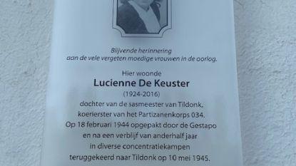 Lucienne De Keuster krijgt herdenkingsbord  aan sashuis in Tildonk