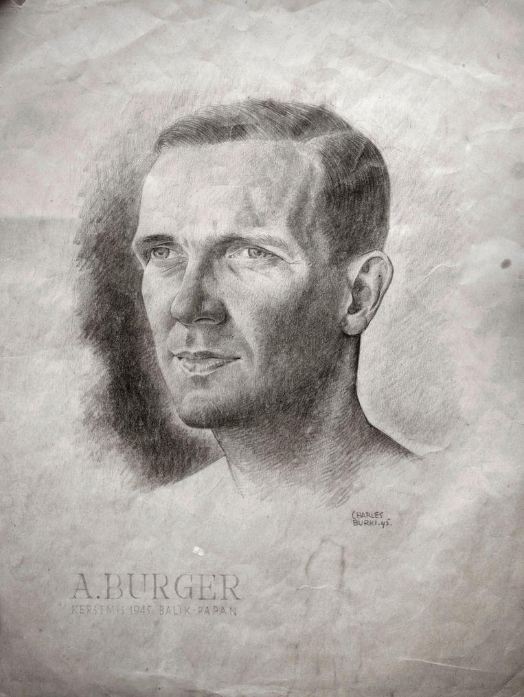 Een potloodtekening van Anton Burger uit december 1945, toen hij van de ontberingen recupereerde. De tekenaar is Charles Burki, eveneens een kampgevangene. Beeld