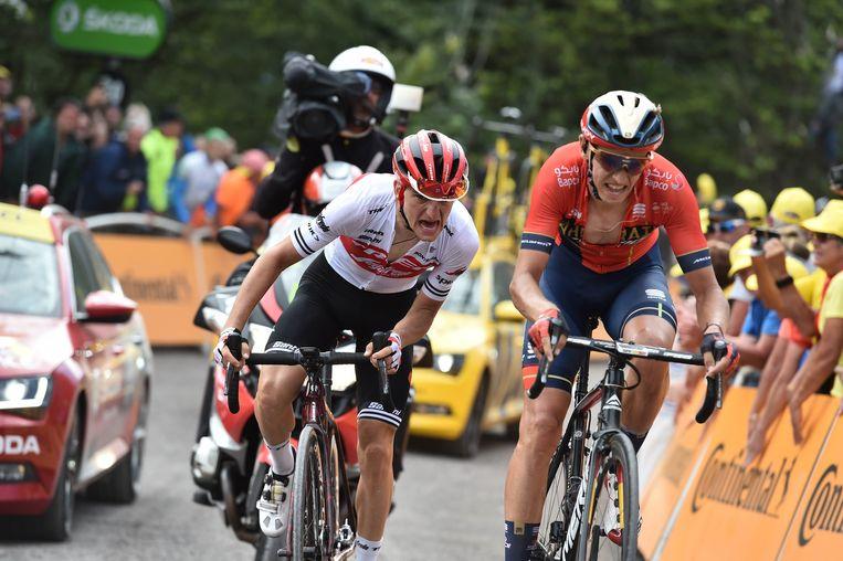 Dylan Teuns rekende in de Tour van 2019 af met Giulio Ciccone, een Italiaan die ook nu sterk rijdt in de Giro. Beeld Photo News