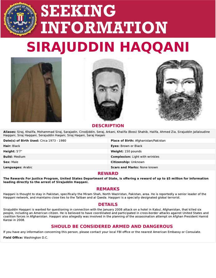 Op het hoofd van Sirajuddin Haqqani staat een prijs van 5 miljoen dollar.