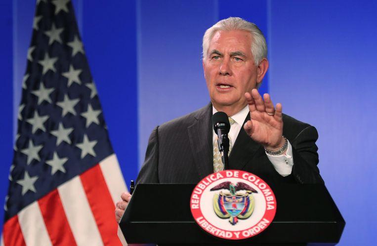 Rex Tillerson tijdens een persconferentie in Colombia.