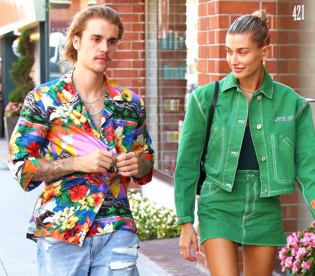 Justin Bieber en vriendin Hailey Baldwin.