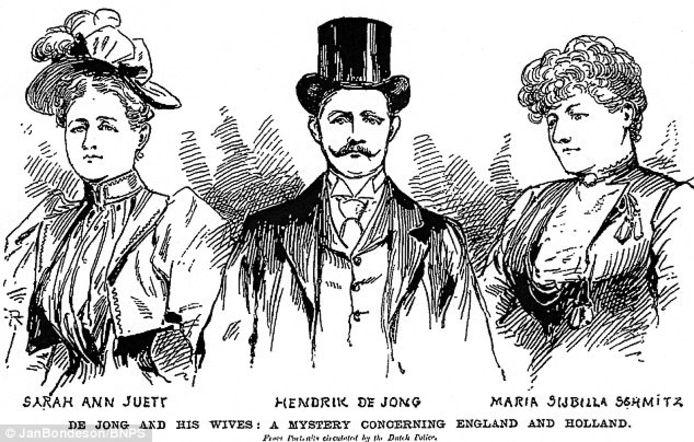 Hendrik ten midden van de zijn twee (vermoedelijk door hem vermoorde) ex-vrouwen.