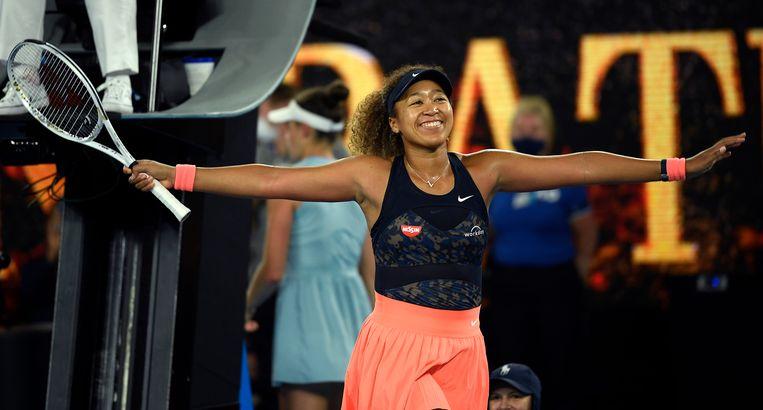 Tennisster Naomi Osaka na haar gewonnen finale van de Australian Open. Beeld AP