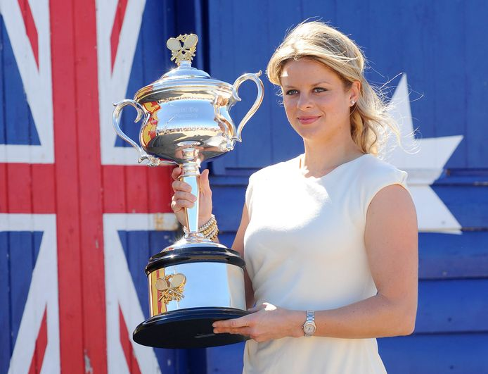 Kim Clijsters met de trofee van de US Open.