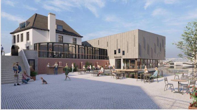 Het toekomstige bioscoopcomplex, met linksvoor - in het voormalige café De Meerpaal - restaurant State.
