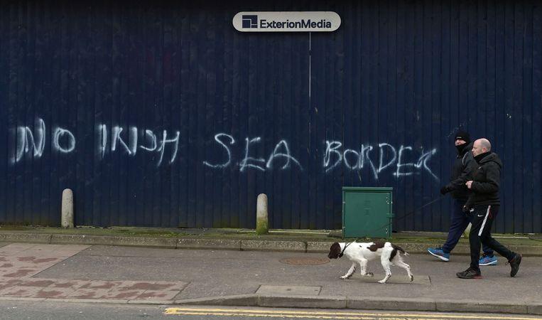 Protest tegen de zeegrens tussen Noord-Ierland en het Verenigd Koninkrijk.  Beeld Getty Images