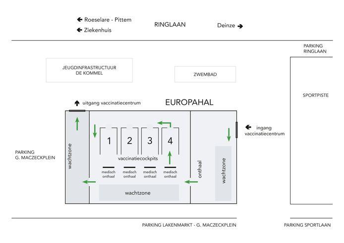 Het circulatieplan dat gebruikt zal worden voor de vaccinaties in de Europahal