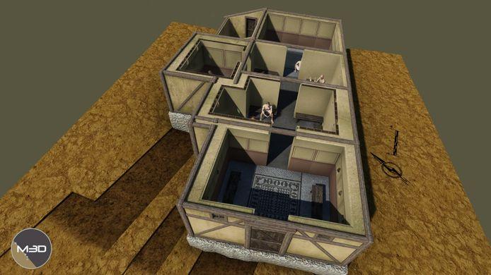 Een 3D-constructie van een Gallo-Romeins badhuis.