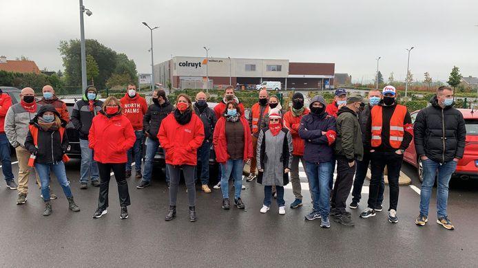 Grève des employés du Colruyt de Herve, le 12 octobre 2020.