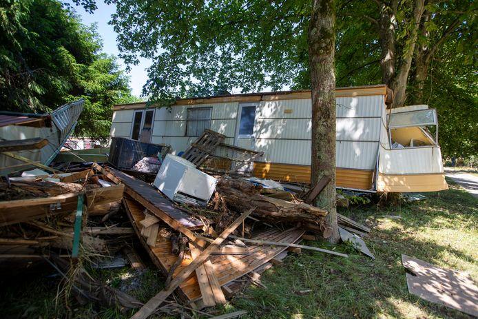 Deze camping in Mery (Esneux) werd volledig van de kaart geveegd.