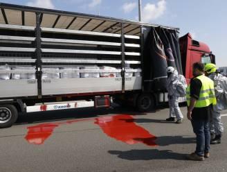 Bestelwagen belandt in de gracht na kop-staartaanrijding in file op E17, snelweg besmeurd met rode verf
