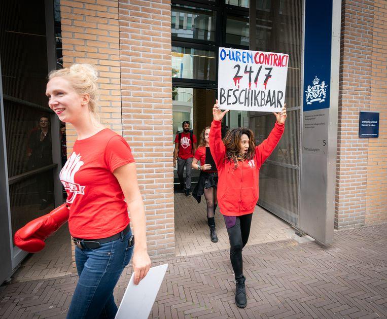 Jongeren van vakbond FNV Young & United demonstreerden in 2018 al voor betere arbeidsvoorwaarden voor flexwerkers. Beeld MARTIJN BEEKMAN