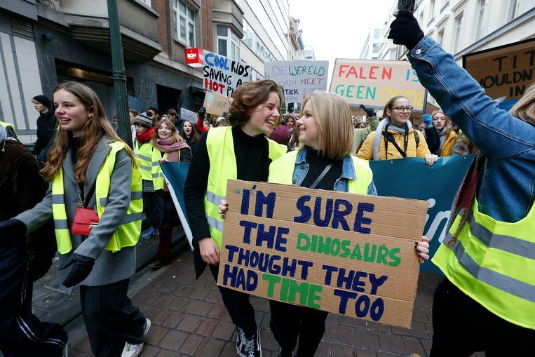 Jongeren spijbelen voor het klimaat in Brussel op 24 januari.  Beeld BELGA