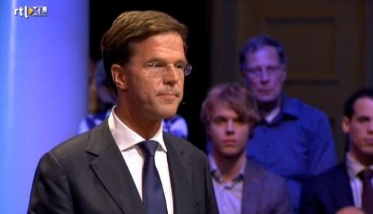 Rutte bij het RTL-lijsttrekkersdebat. Beeld RTL