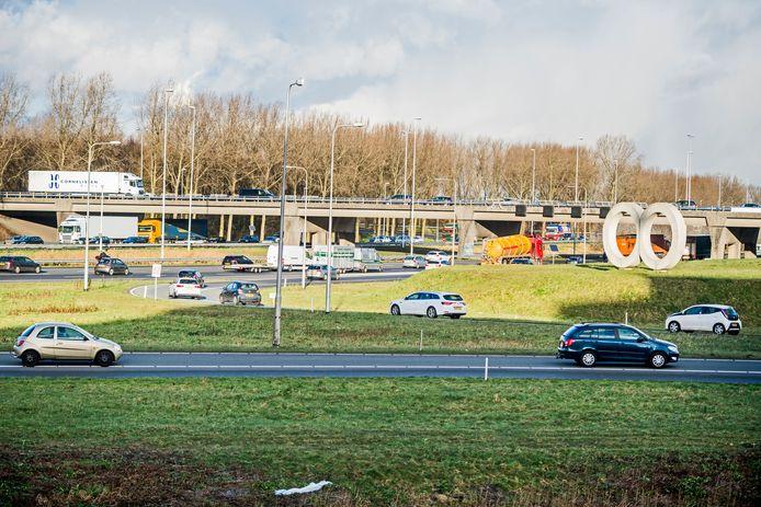 De op- en afrit van de A12 bij Gouda. Foto: Frank de Roo