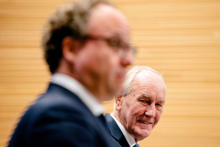Informateurs Johan Remkes en Wouter Koolmees tijdens een toelichting op de formatie. Beeld ANP