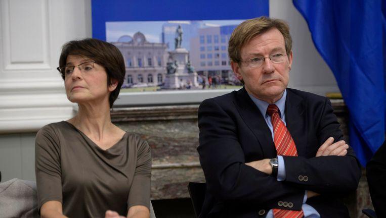Marianne Thyssen op een debat met haar N-VA-concurrent Johan Van Overtdveldt. Beeld PHOTO_NEWS
