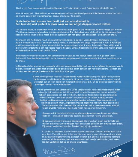 Weer schrijft Rutte open brief aan alle Nederlanders: 'we moeten ons land beschermen'