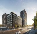 Een impressie van het plan EDGE met kantoren aan de Stationsweg (voorgrond) en het spoor en een woontoren (achtergrond) aan de Dommel in Eindhoven.