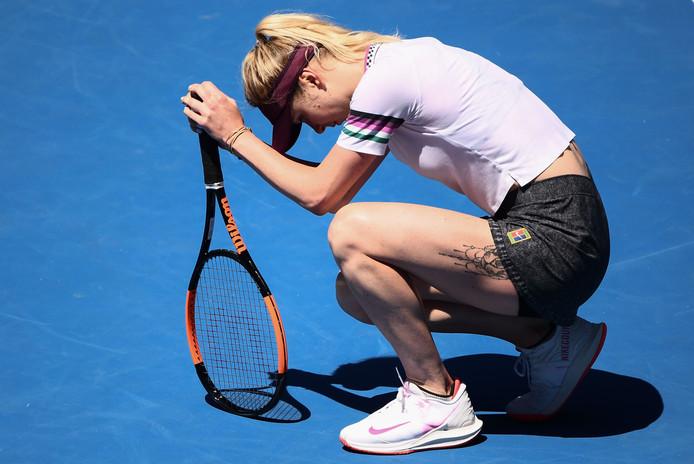 Elina Svitolina baalt na haar uitschakeling.
