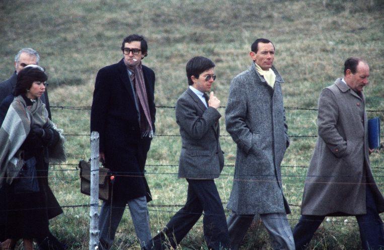Lambert (midden) op 30 oktober 1985 bij de reconstructie van de moord. Beeld afp